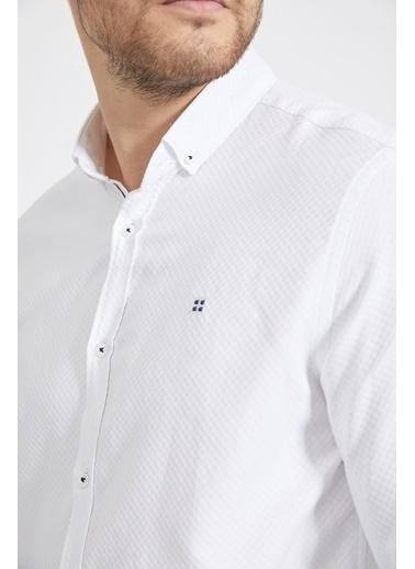 Avva Erkek Armürlü Düğmeli Yaka Slim Fit Gömlek A02Y2024 Beyaz